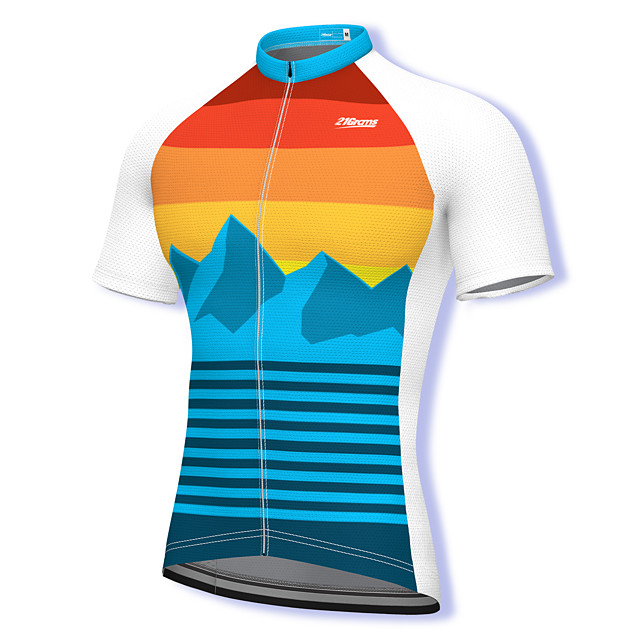 21Grams Men's Short Sleeve Cycling Jersey Summer Spandex Polyester Blue Rainbow Stripes Bike Jersey Top Mountain Bike MTB Road Bike Cycling Quick Dry Moisture Wicking Breathable Sports Clothing