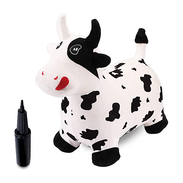 Bouncy Animals,Bouncy Horse,Hopping Toy,Bouncy Cow with Plush Covered,Hopper Toys for Kids,Gift for 18 Months 2 3 4 Year Old Kid Toddler Girl