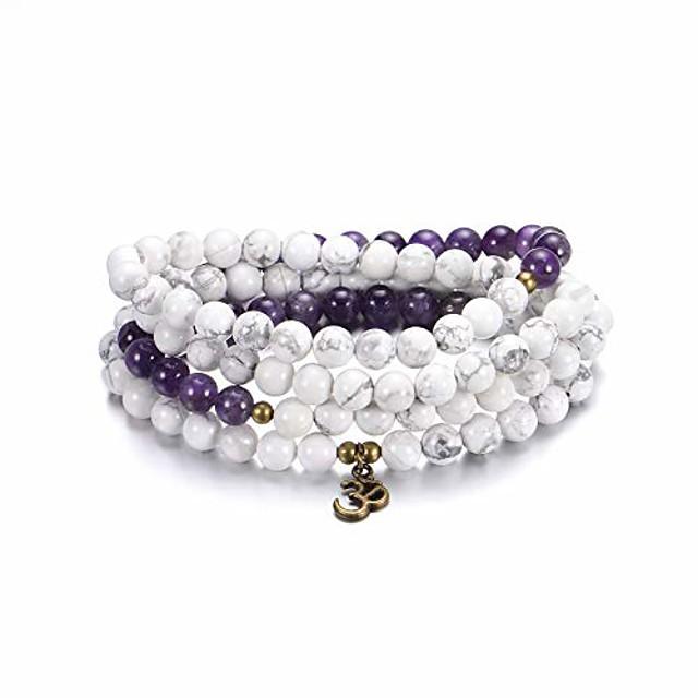 zonnebloem sieraden 8mm 108 mala kralen wrap armband ketting voor yoga bedelarmband natuursteen sieraden voor vrouwen mannen (wit turkoois en amethist)