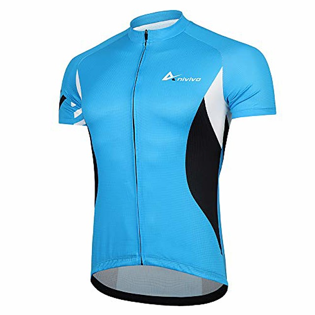 men cycling jersey short sleeves, bike shirts for men &full zip road bike jersey with pockets(blue,s)