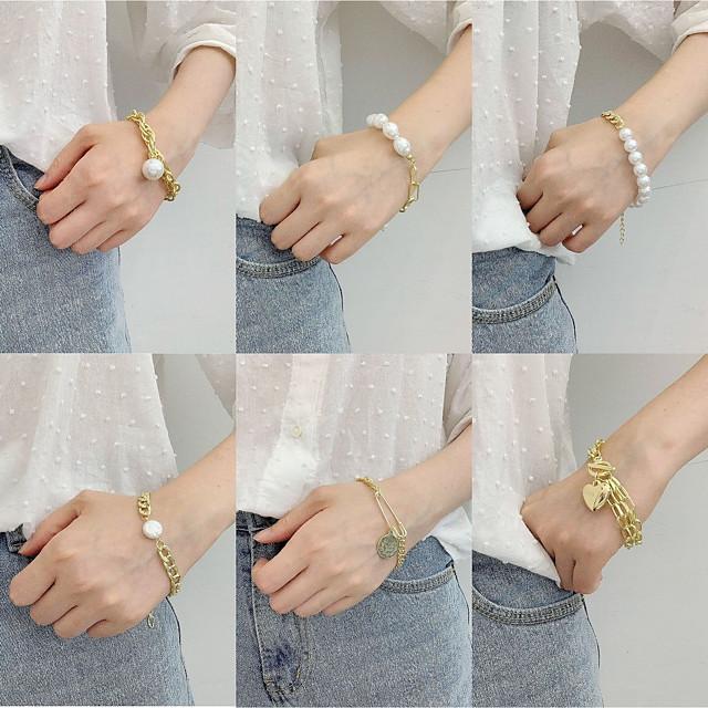 Women's Pearl Bead Bracelet Vintage Bracelet Pear Cut Vintage Theme Stylish Alloy Bracelet Jewelry Rainbow For Gift Date