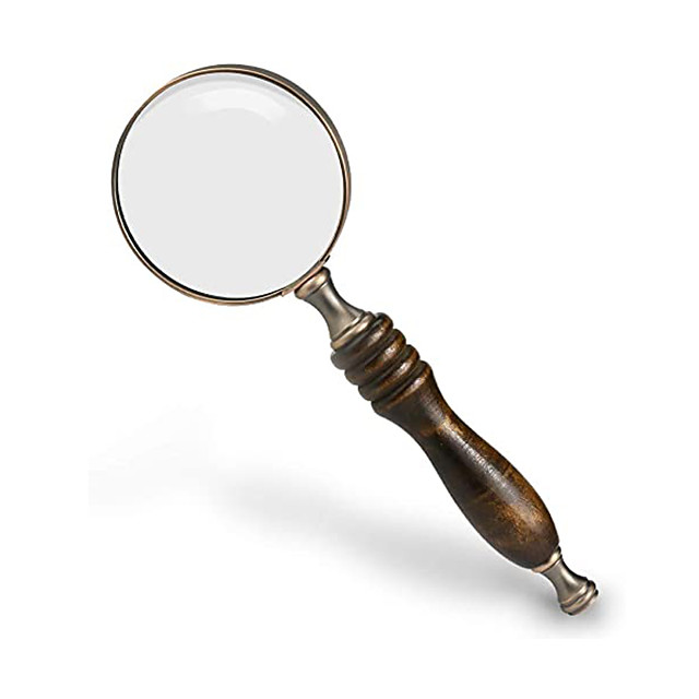 10X Handheld Magnifying Glass Antique Copper Magnifier with Sandawood Handle,High Magnification Magnifier for Reading, Senior, Low Vision, Map, Inspection, Handcraft Hobby
