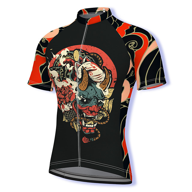 21Grams Men's Short Sleeve Cycling Jersey Summer Spandex Polyester Black Bike Jersey Top Mountain Bike MTB Road Bike Cycling Quick Dry Moisture Wicking Breathable Sports Clothing Apparel / Athleisure