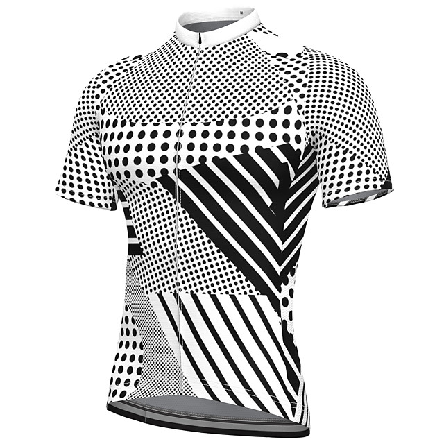 21Grams Men's Short Sleeve Cycling Jersey Summer Spandex Polyester Black+White Polka Dot Stripes Bike Jersey Top Mountain Bike MTB Road Bike Cycling Quick Dry Moisture Wicking Breathable Sports