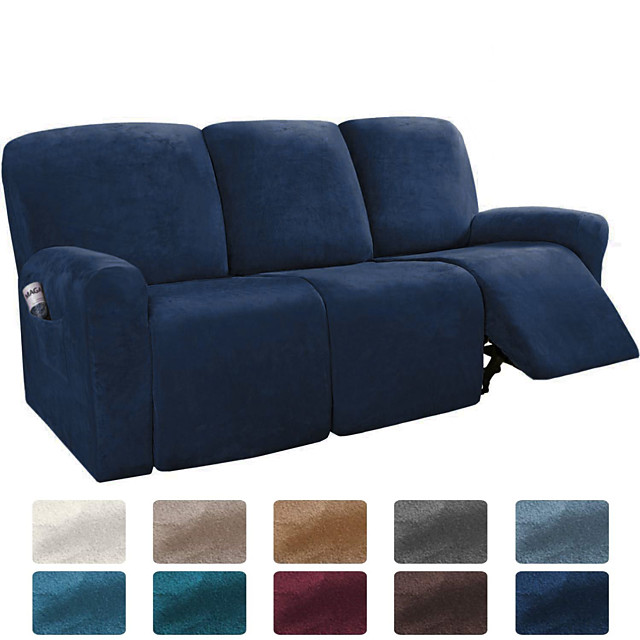 Sofa Cover Solid Colored Flocking Polyester Slipcovers
