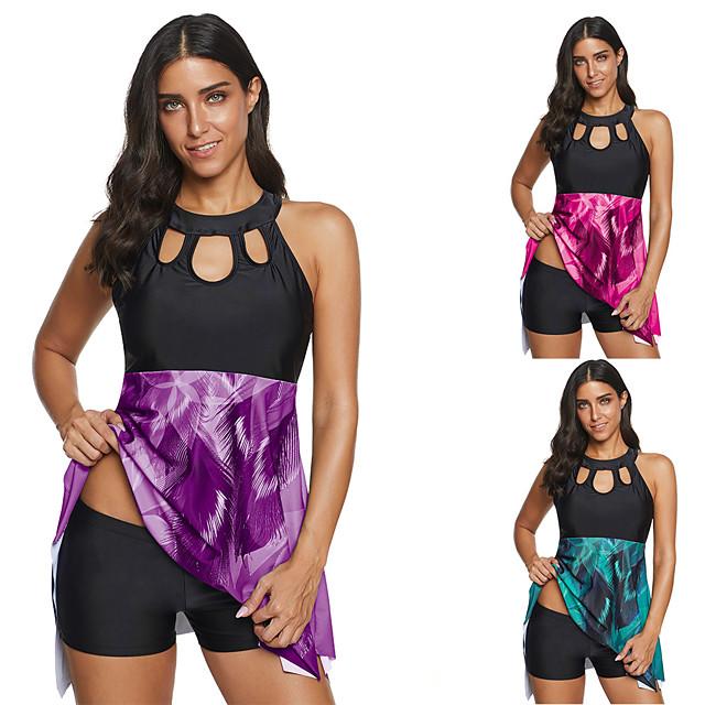 בגדי ריקוד נשים טנקיני בגדי ים ייבוש מהיר ללא שרוולים 2חלקים - שחייה גלישה ספורט מים קיץ / מידות גדולות