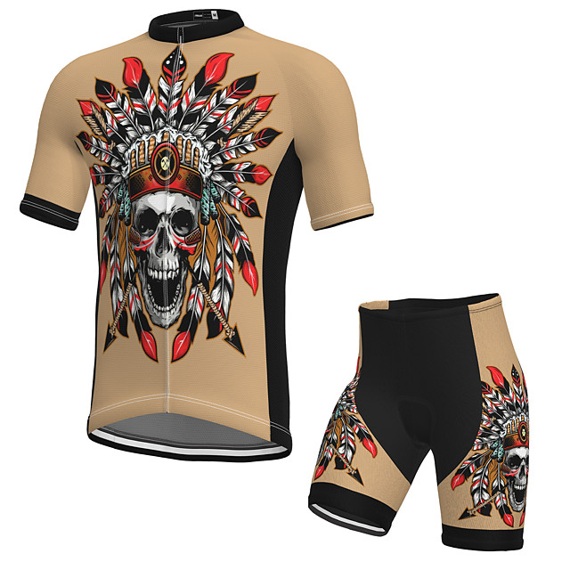 Men's Short Sleeve Cycling Jersey with Shorts Spandex Khaki Skull Bike Breathable Quick Dry Sports Graphic Mountain Bike MTB Road Bike Cycling Clothing Apparel / Stretchy / Athletic / Athleisure