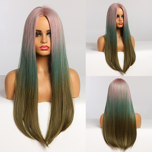 Long Straight Pink Blue Green Ombre Hair Middle Part Heat Resistant Synthetic Wigs for Afro Women Cosplay Party Natural Wigs