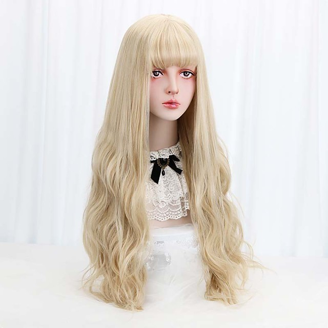 Free Beauty Long Wavy Synthetic Blonde 32 Cosplay Lolita Hair Wigs with Bangs for Women Costume Party High Temperature Fiber