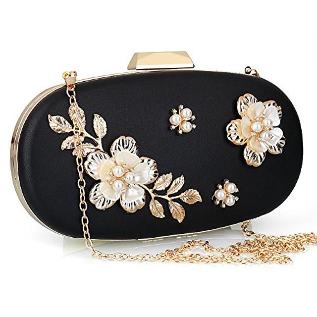 women's evening clutch bag satin flower pearl beaded evening handbag bridal clutch purse prom (black)