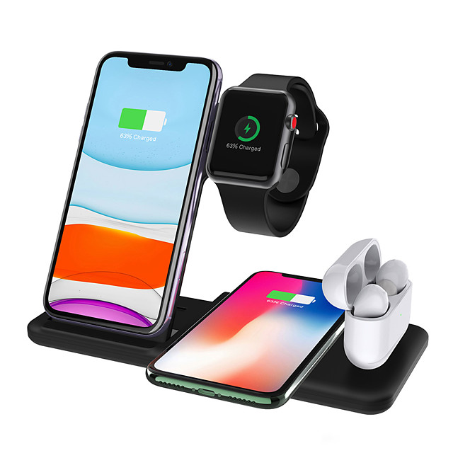 Wireless Charger 4-in-1 15W Fast Wireless Charger Station Charging for Apple Watch Air pods iPhone 12/11pro/X/XS/XR/Xs Max/8/8 Plus Qi Wireless Charger Stand Charge for Samsung Galaxy S21 S20 and More