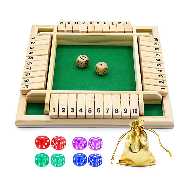 Dice Game Wooden Board Game a Classic 4 Sided Family Math Game with 10 Dices for Kids Adults 2-4 Players (Shut-The-Box)