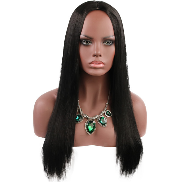 Synthetic Wig Natural Straight Middle Part Wig Medium Length Black Synthetic Hair Women's Party Fashion Comfy Black