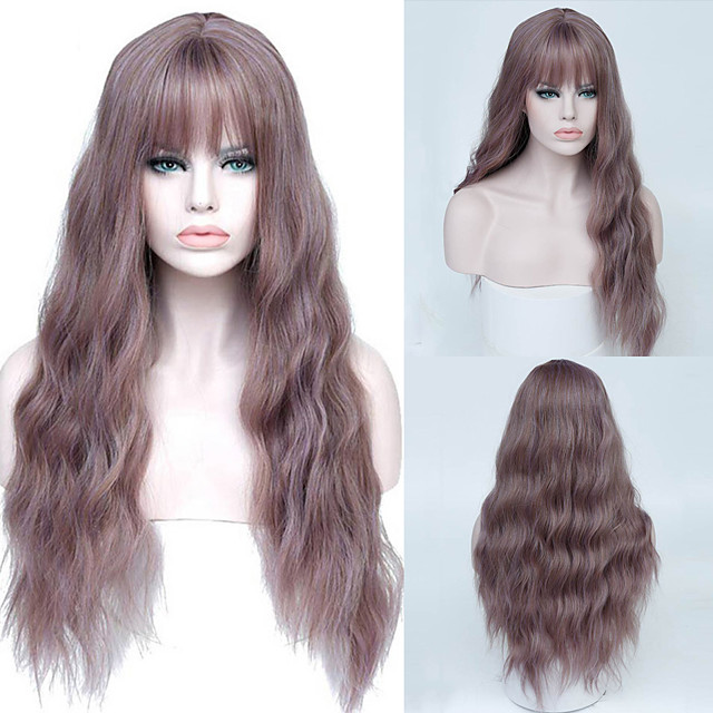 Synthetic Wig Curly Asymmetrical Neat Bang Wig 26 inch A10 A11 A12 A1 A2 Synthetic Hair Women's Fashionable Design Party Fashion Pink Purple