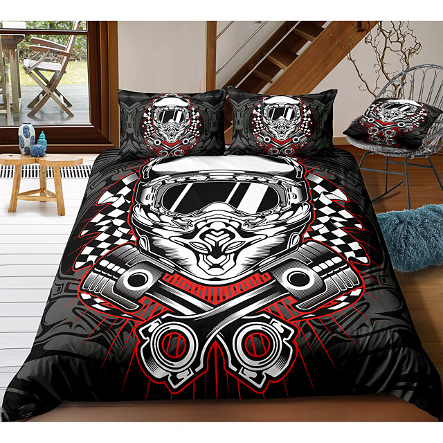 Moto 3-Piece Duvet Cover Set Hotel Bedding Sets Comforter Cover with Soft Lightweight Microfiber, Include 1 Duvet Cover, 2 Pillowcases for Double/Queen/King(1 Pillowcase for Twin/Single)