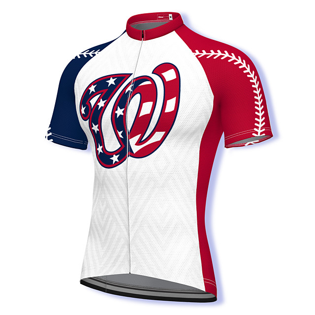 21Grams Men's Short Sleeve Cycling Jersey Summer Spandex Polyester White USA Bike Jersey Top Mountain Bike MTB Road Bike Cycling Quick Dry Moisture Wicking Breathable Sports Clothing Apparel