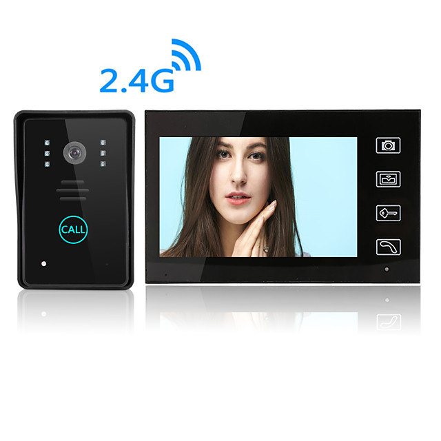 Wireless 7 inches Video Intercom Video Doorphone/Doorbell HD LCD Touch Screen Phone Two-way Clear Home Security Camera Monitor for Home Door Access Control Security