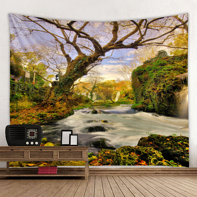 Tapestry Wall Hanging Art Deco Blanket Curtain Hanging at Home Bedroom Living Room Decoration Dream Creek Water Scenery Woods