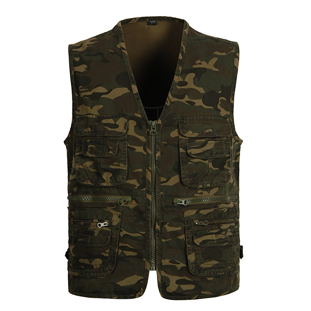 Men's Fishing Vest Outdoor Multi-Pockets Quick Dry Lightweight Breathable Vest / Gilet Autumn / Fall Spring Fishing Photography Camping & Hiking Camouflage / Cotton / Sleeveless / Camo / Camouflage