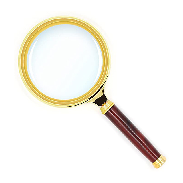 10X Handheld Magnifier Antique Mahogany Handle Magnifier Reading Magnifying Glass for Reading Book, Inspection, Coins, Insects, Rocks, Map, Crossword Puzzle
