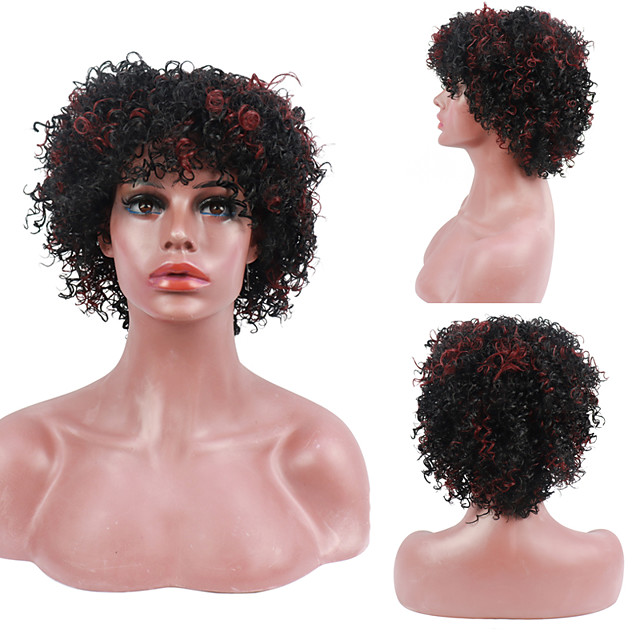Kinky Curly Wig Full Machine Wigs With Bangs Afro Kinky Curly Hair Wigs For Women Free Cap