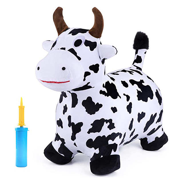 Bouncy Pals Cow Hopping Horse, Outdoor Ride On Bouncy Animal Play Toys, Inflatable Hopper Plush Covered with Pump, Activities Gift for 18 Months 2 3 4 5 Year Old Kids Toddlers Boys Girls