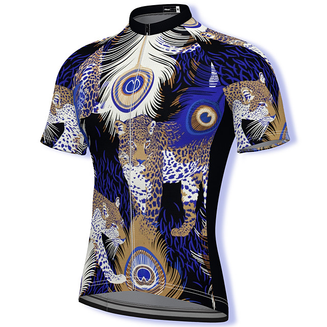 21Grams Men's Short Sleeve Cycling Jersey Summer Spandex Polyester Blue Leopard Bike Jersey Top Mountain Bike MTB Road Bike Cycling Quick Dry Moisture Wicking Breathable Sports Clothing Apparel