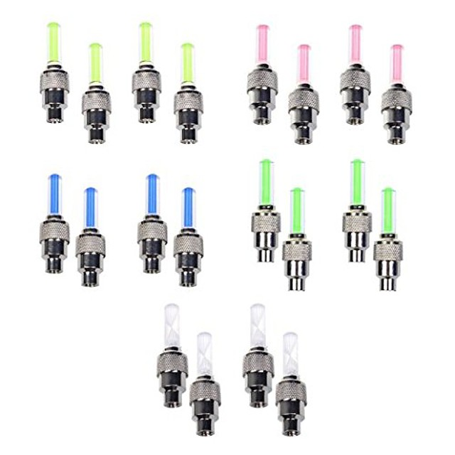 10 paczek roweru samochód koło silnikowe kołpak zaworu szprycha neonowa 5 diod LED lampa błyskowa (czerwona, żółta, niebieska, zielona, kolorowa)