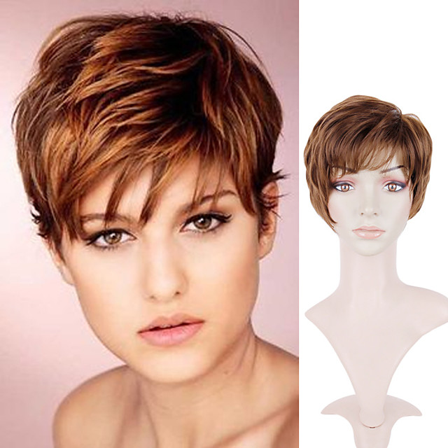 Curly Short Brown Wig Female Chemical Fiber Wig Headgear European And American Wig Brown Short Hair Micro-volume Synthetic Wigs Wig