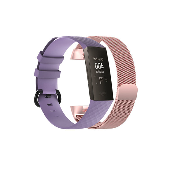 Smart Watch Band for Fitbit 2 PCS Sport Band Business Band Stainless Steel Silicone Replacement  Wrist Strap for Fitbit Charge 3