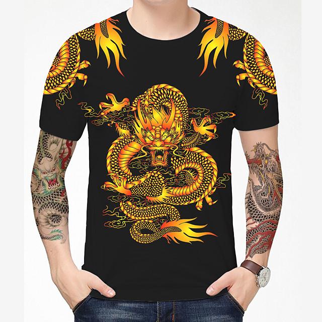 Voor heren T-shirt 3D-afdrukken Draak Grafisch Grafische prints 3D Opdruk Korte mouw Dagelijks Tops Chinese stijl Informeel Zwart