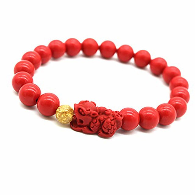 tikkii feng shui wealth bracelet red pi xiu/pi yao beads amulet bracelet wealth attract lucky bangle for women and men (8mm)