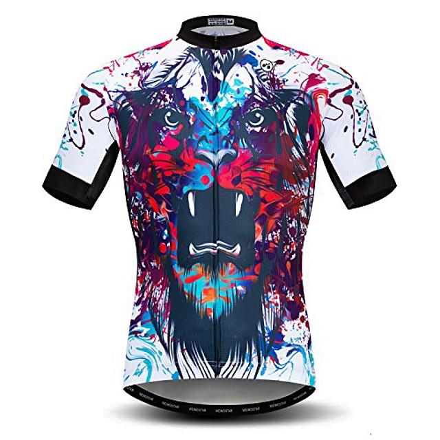 Męska koszulka rowerowa z krótkim rękawem na zewnątrz pro jazda na rowerze odzież jeździecka koszulki na rower górski oddychająca koszulka z czaszką topy