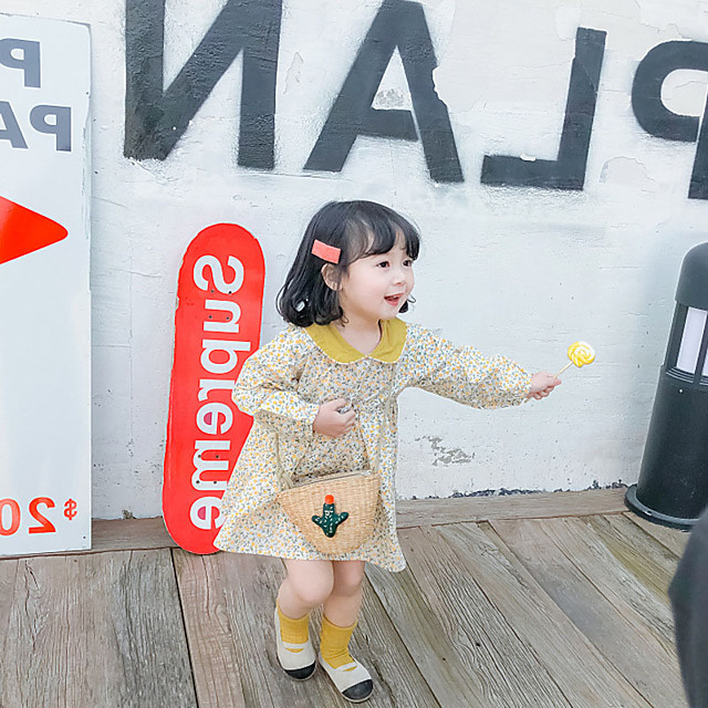 korean style floral ladies fresh lapel dress for small and medium-sized children, spring 2021 new children's wear on behalf of 3~8 years old