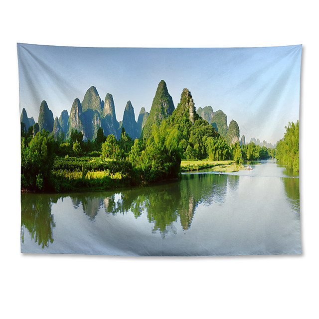 Wall Tapestry Art Decor Blanket Curtain Hanging Home Bedroom Living Room Decoration Polyester Guilin Scenery