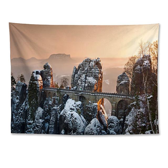 Wall Tapestry Art Decor Blanket Curtain Hanging Home Bedroom Living Room Grand Polyester Roman Bastion Bridge in Germany-Winter Snow Scene