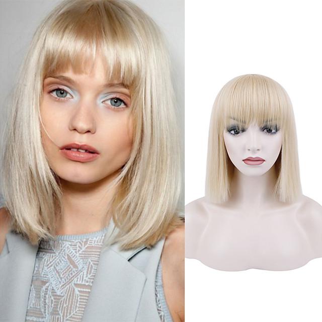 Natural Straight Short White Gold Wig Chemical Fiber Wig White Gold Qi Liuhai Fashion Short Hair Straight Hair Wig Headgear Trend Wig