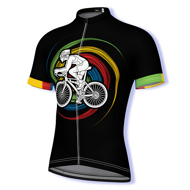 21Grams Men's Short Sleeve Cycling Jersey Summer Spandex Polyester Black Rainbow Bike Jersey Top Mountain Bike MTB Road Bike Cycling Quick Dry Moisture Wicking Breathable Sports Clothing Apparel