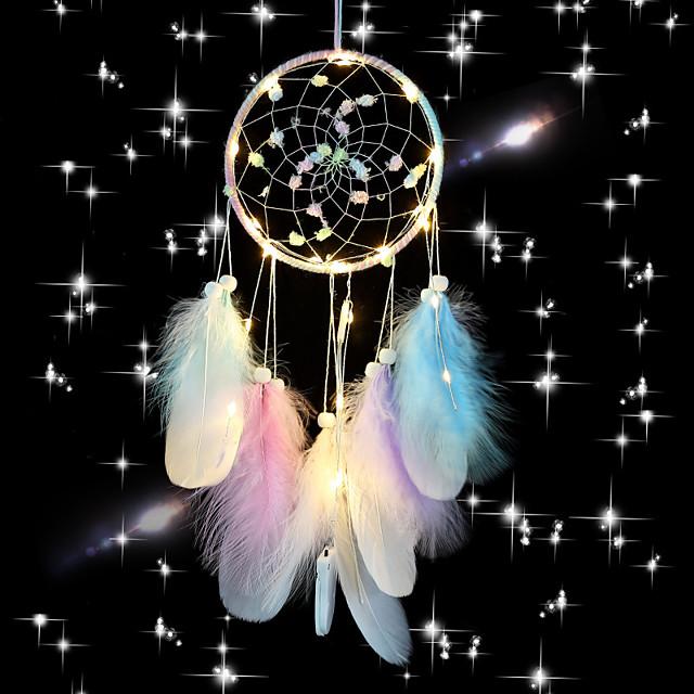 Pink Dream Catcher Handmade Circle Design Dream Catcher Feather Hanging Home Decoration Ornament Festival Gift