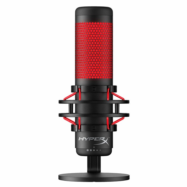 HyperX QuadCast - USB Condenser Gaming Microphone for PC PS4 and Mac Anti-Vibration Shock Mount Four Polar Patterns Pop Filter Gain Control Podcasts Twitch YouTube Discord Red LED