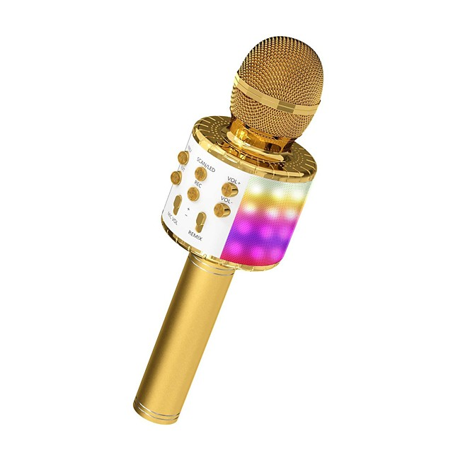 Microphone for Kids Wireless Bluetooth Karaoke Microphone  With LED Light Portable Handheld Mic Speaker Machine Great Gifts Toys for Girls Boys Adults All Age