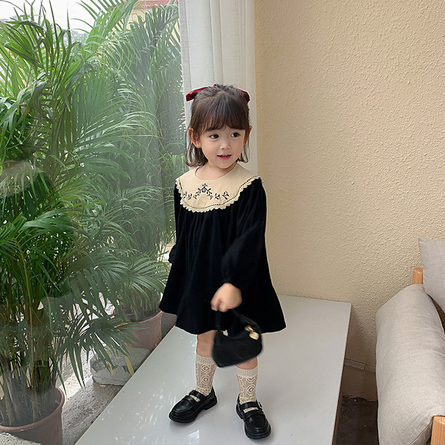 2020 autumn girls' dresses, spring and autumn dresses, new skirts, baby palace style, children's western embroidered princess dress