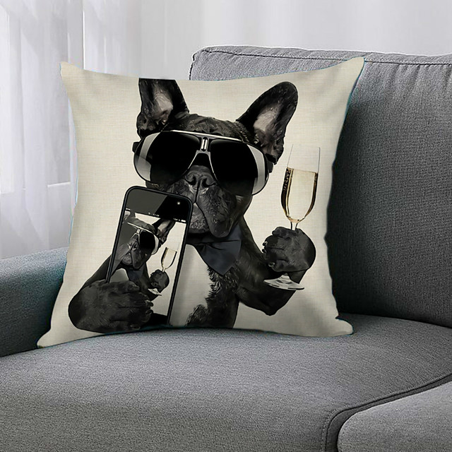 Double Side 1 Pc Animal Cushion Cover  Print 45x45cm Linen for Sofa Bedroom