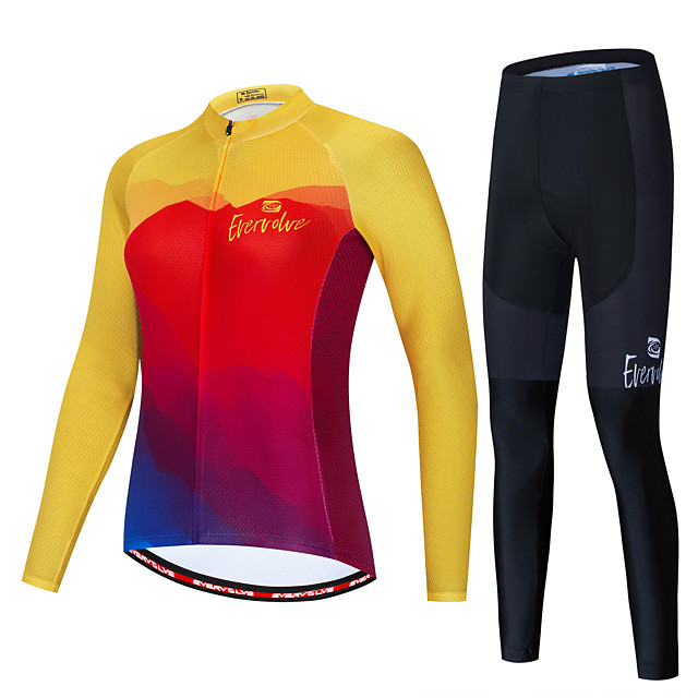 Women's Long Sleeve Cycling Jersey with Tights Red / Yellow Red+Blue Bike Windproof Sports Patterned Clothing Apparel / Micro-elastic / Athleisure