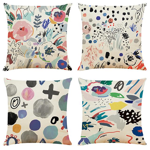 Funda de almohada de lino de imitación de 4 piezas, clásico clásico tradicional con cremallera cuadrada de vacaciones