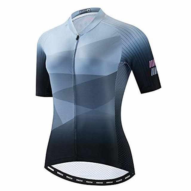 cycling jersey women bike shirt top pro team summer short sleeve mtb bicycle clothing pockets grey size m