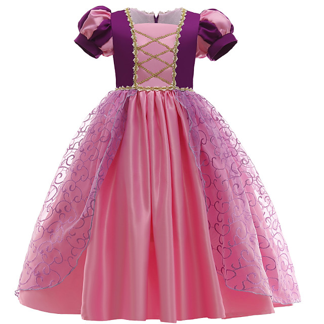 Kids Little Girls' Dress Patchwork Mesh Purple Blushing Pink Midi Short Sleeve Princess Dresses Regular Fit