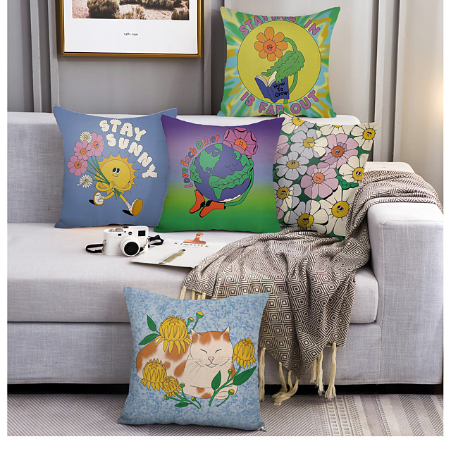 5 pcs Linen Pillow Cover, Cartoon Square Zipper Polyester Traditional Classic