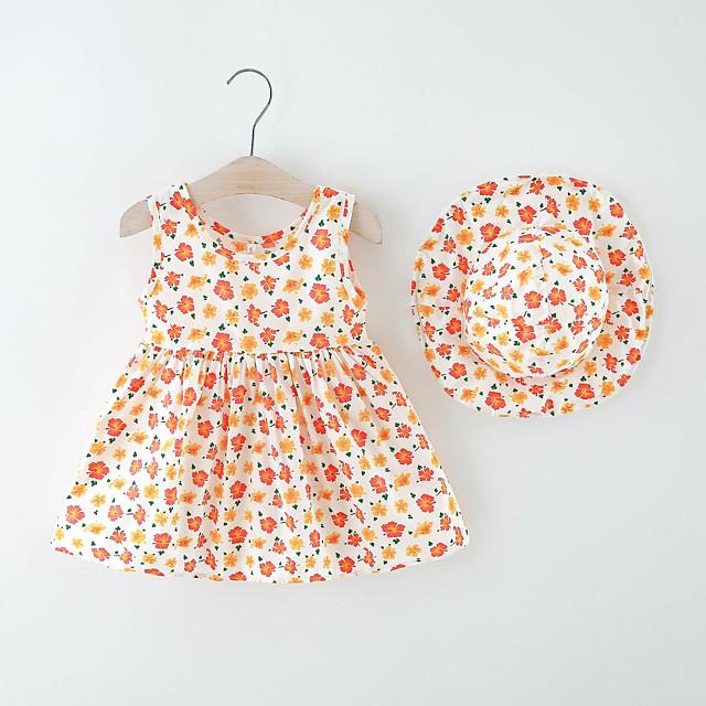 Toddler Little Girls' Dress Flower Print Blue Orange Knee-length Sleeveless Regular Dresses Summer Loose 2-6 Years