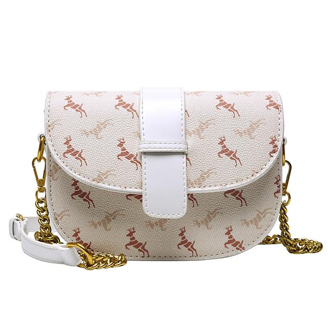 Women's Bags PU Leather Crossbody Bag Chain Daily 2021 Handbags Chain Bag coffee White